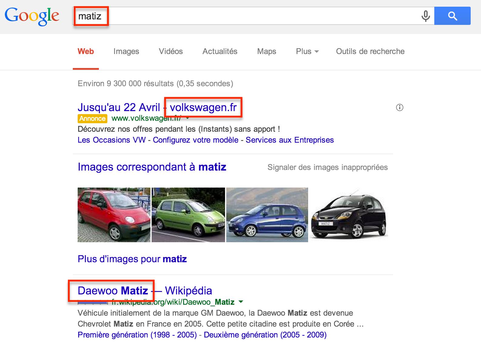 Utilisation frauduleuse de la marque Matiz par volkswagen sur Adwords